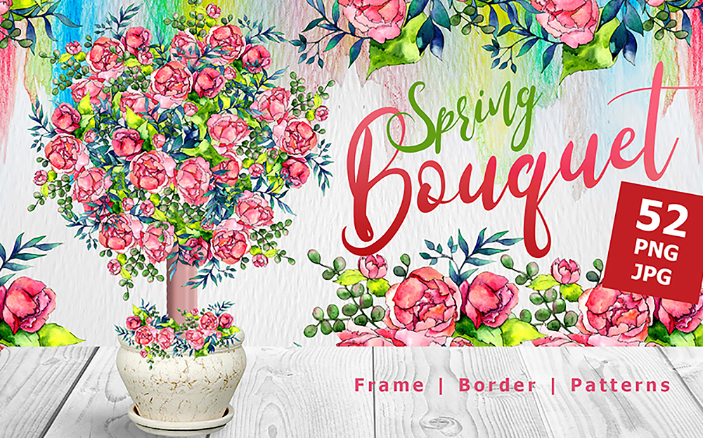 Spring Bouquet & Watercolor Fower - Bundle