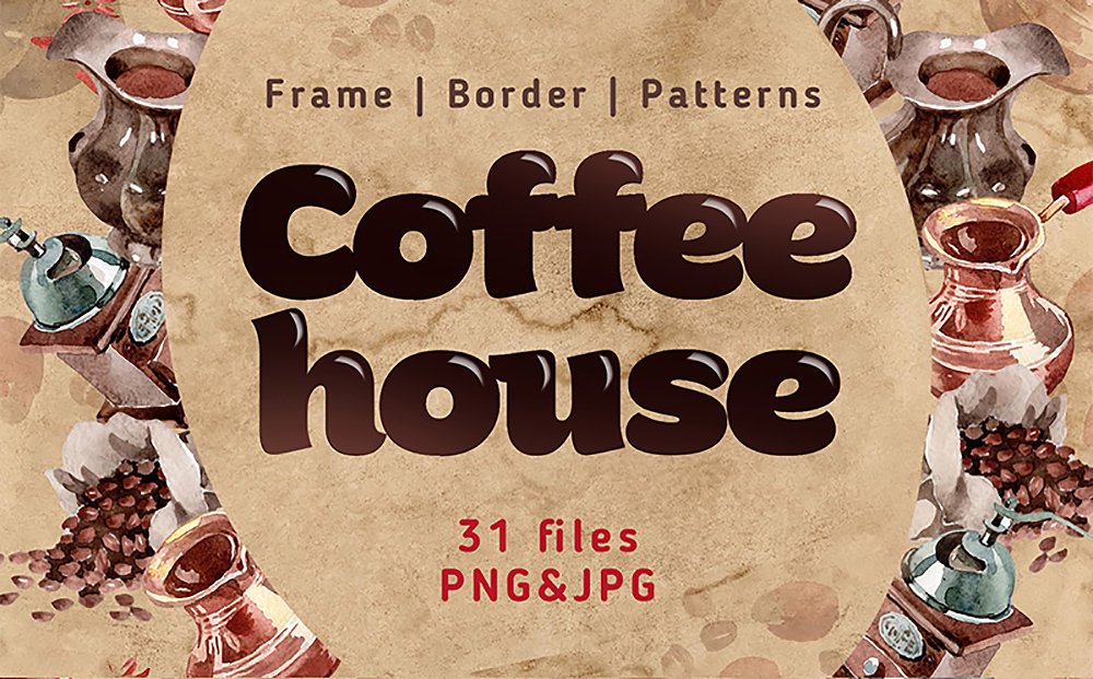Coffee House PNG Watercolor Set Bundle