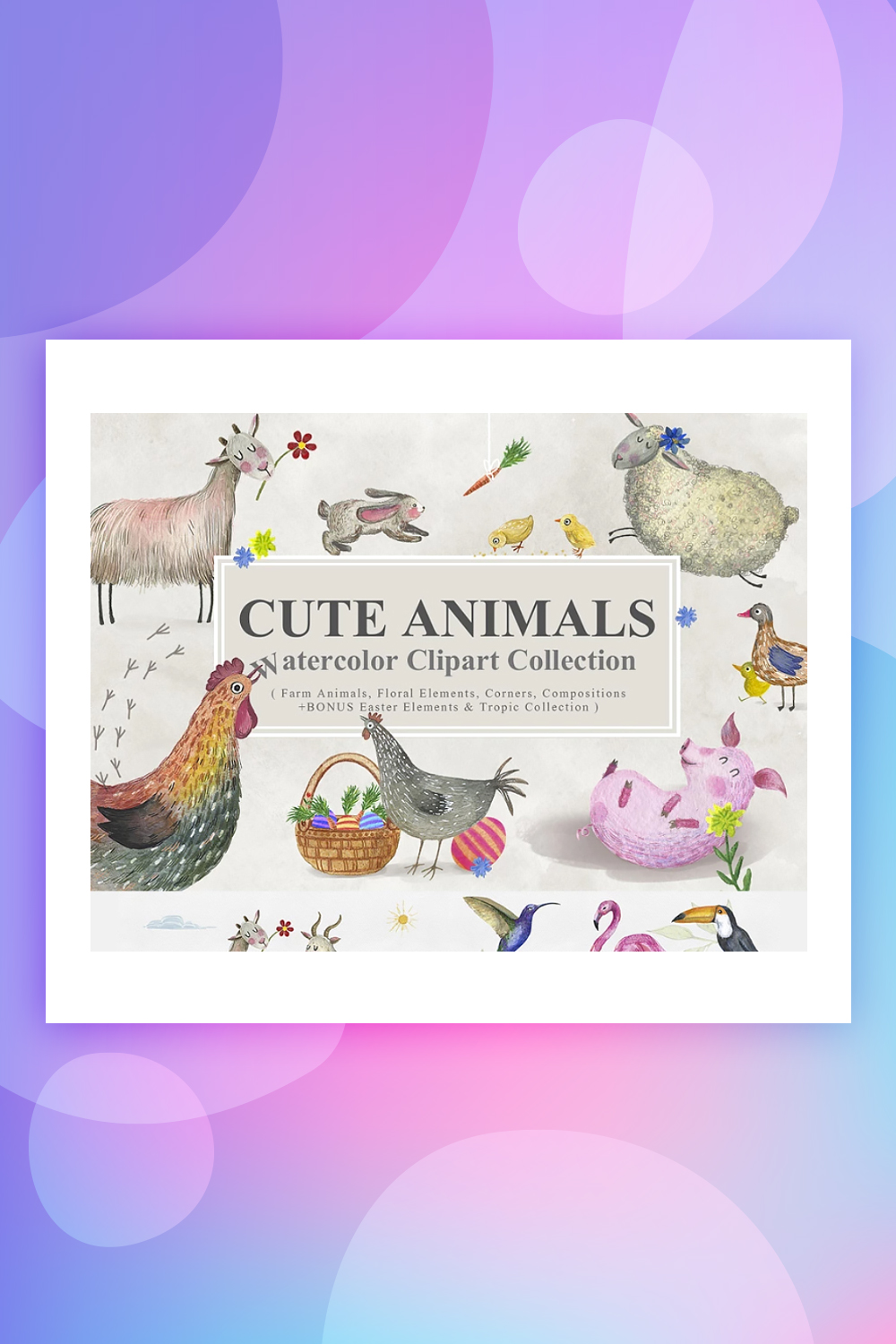 Cute Animals Watercolor Collection Illustrations Bundle