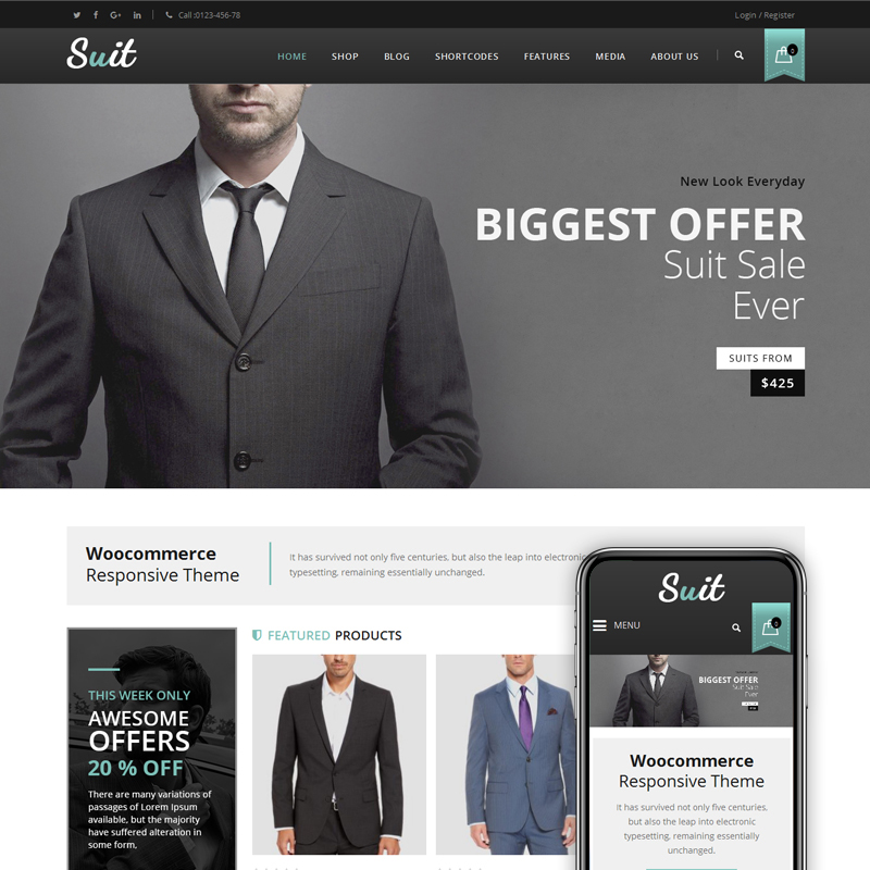 Suit - Men's Fashion Store WooCommerce Theme