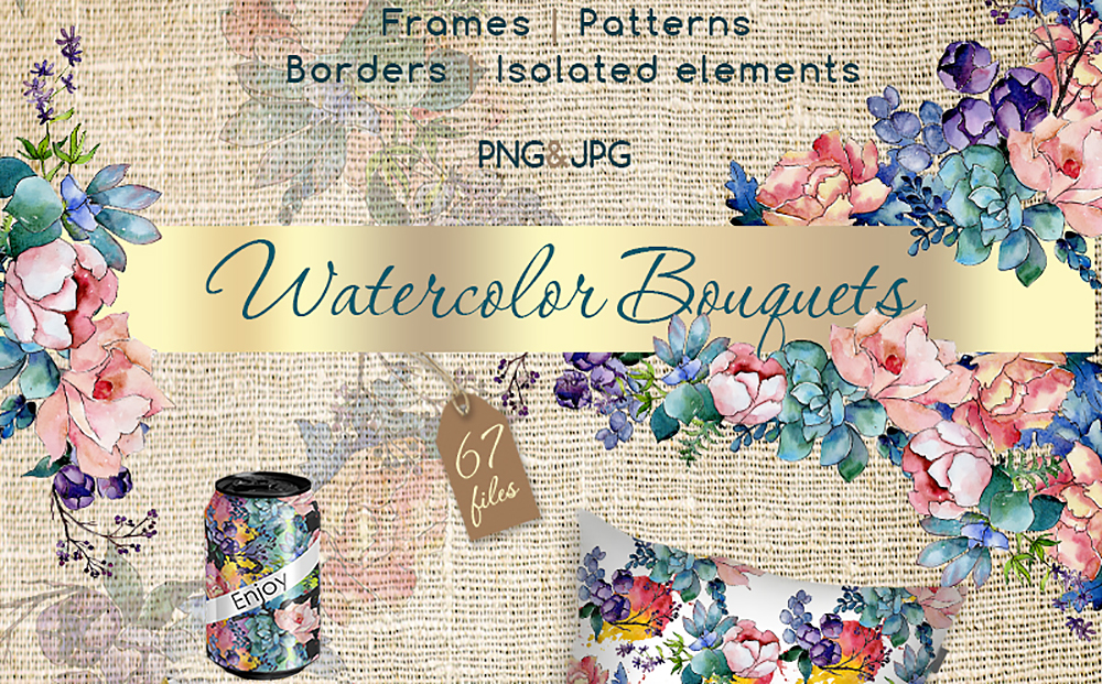 Watercolor Bouquet PNG Flower Set Bundle