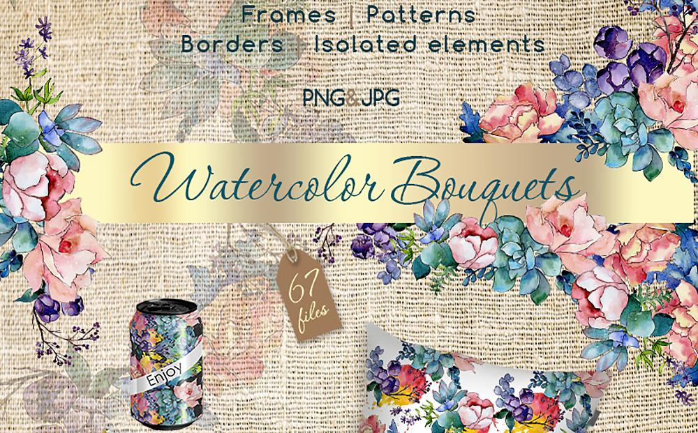 Watercolor Bouquet PNG Flower Set Bundle