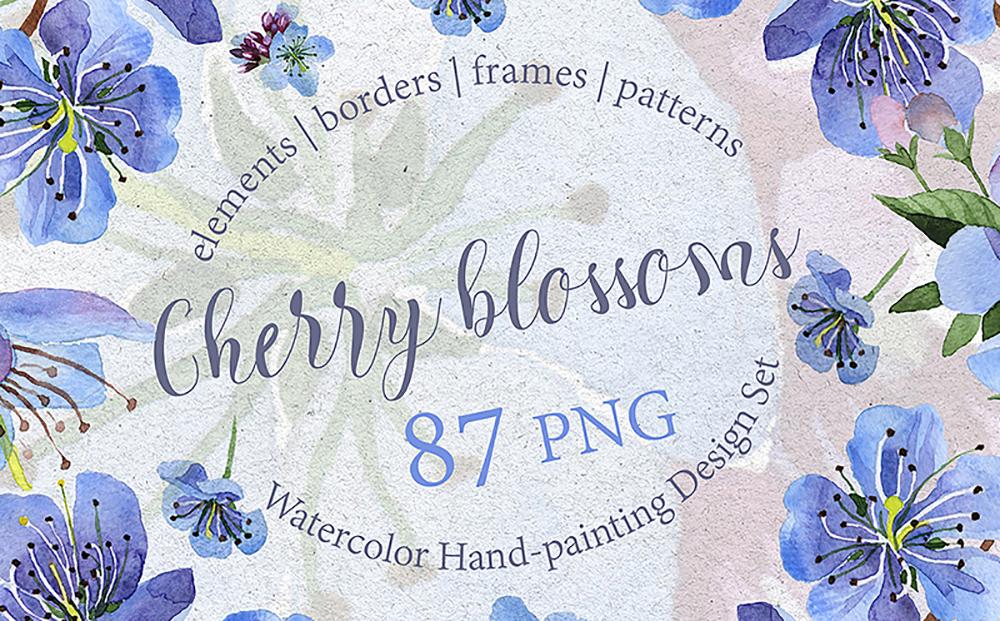 Cherry Blossoms - PNG watercolor Bundle