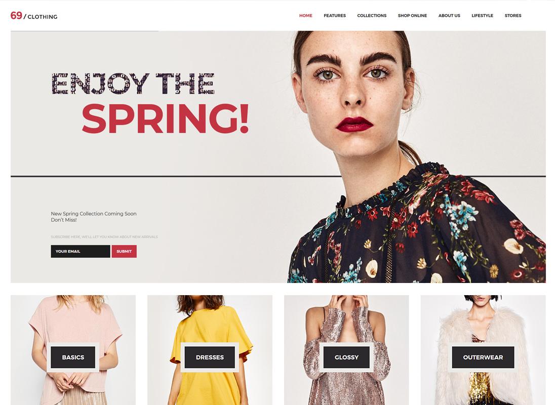 69 Clothing - Brand Store & Fashion Boutique WordPress Theme