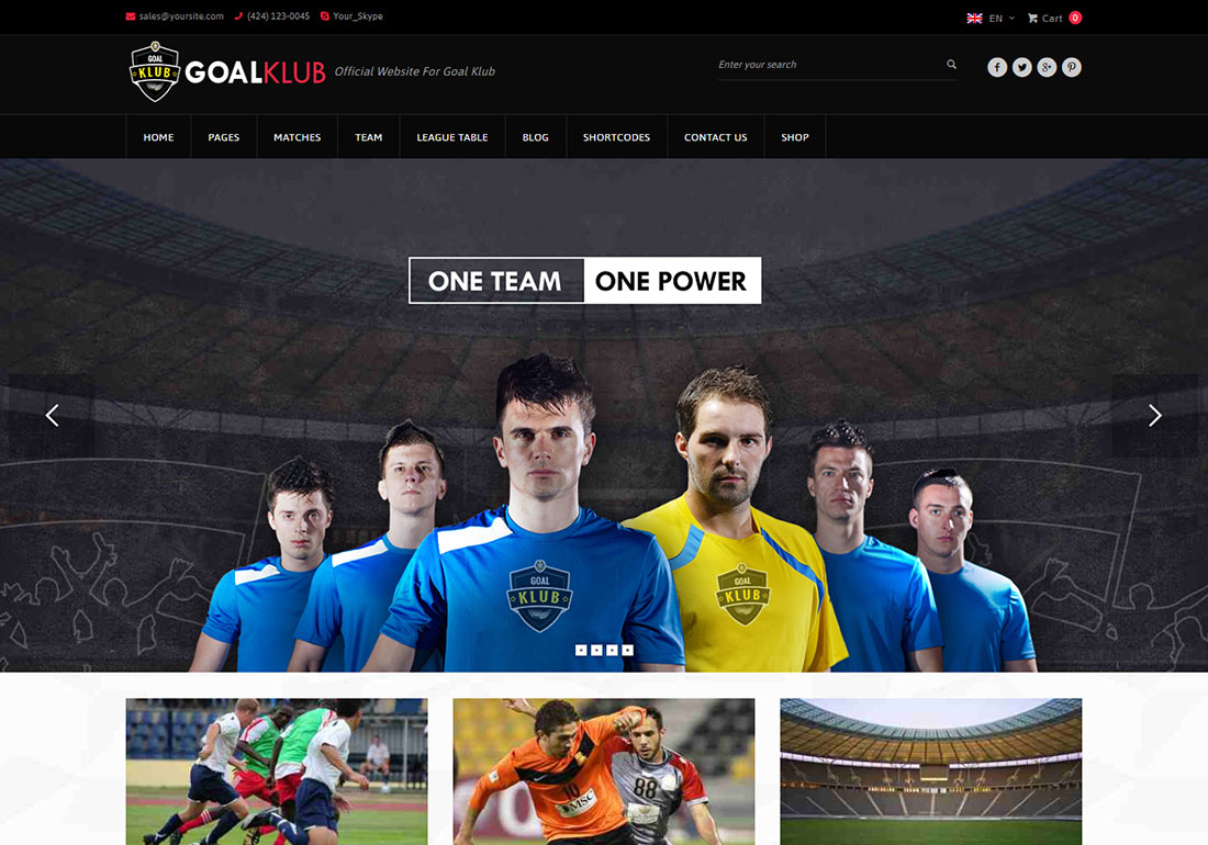 Goal Club baseball WordPress theme