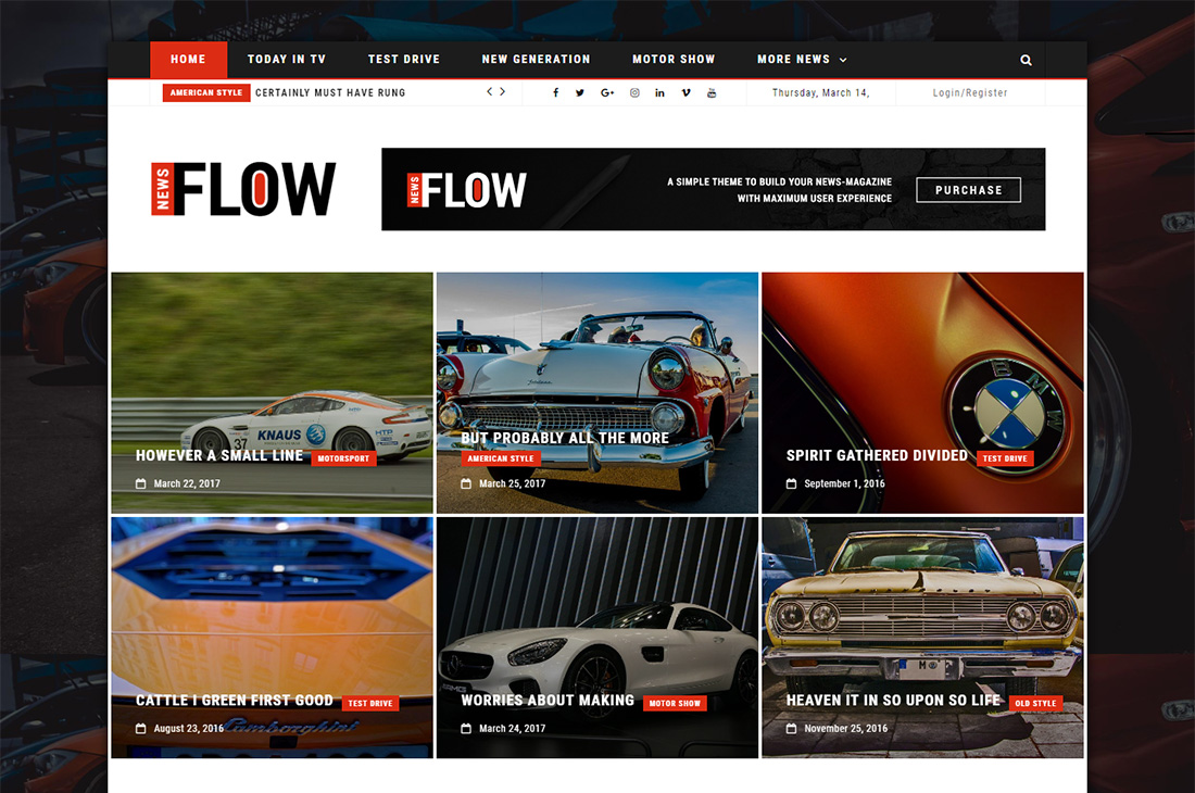 flow news cars magazine wordpress themes