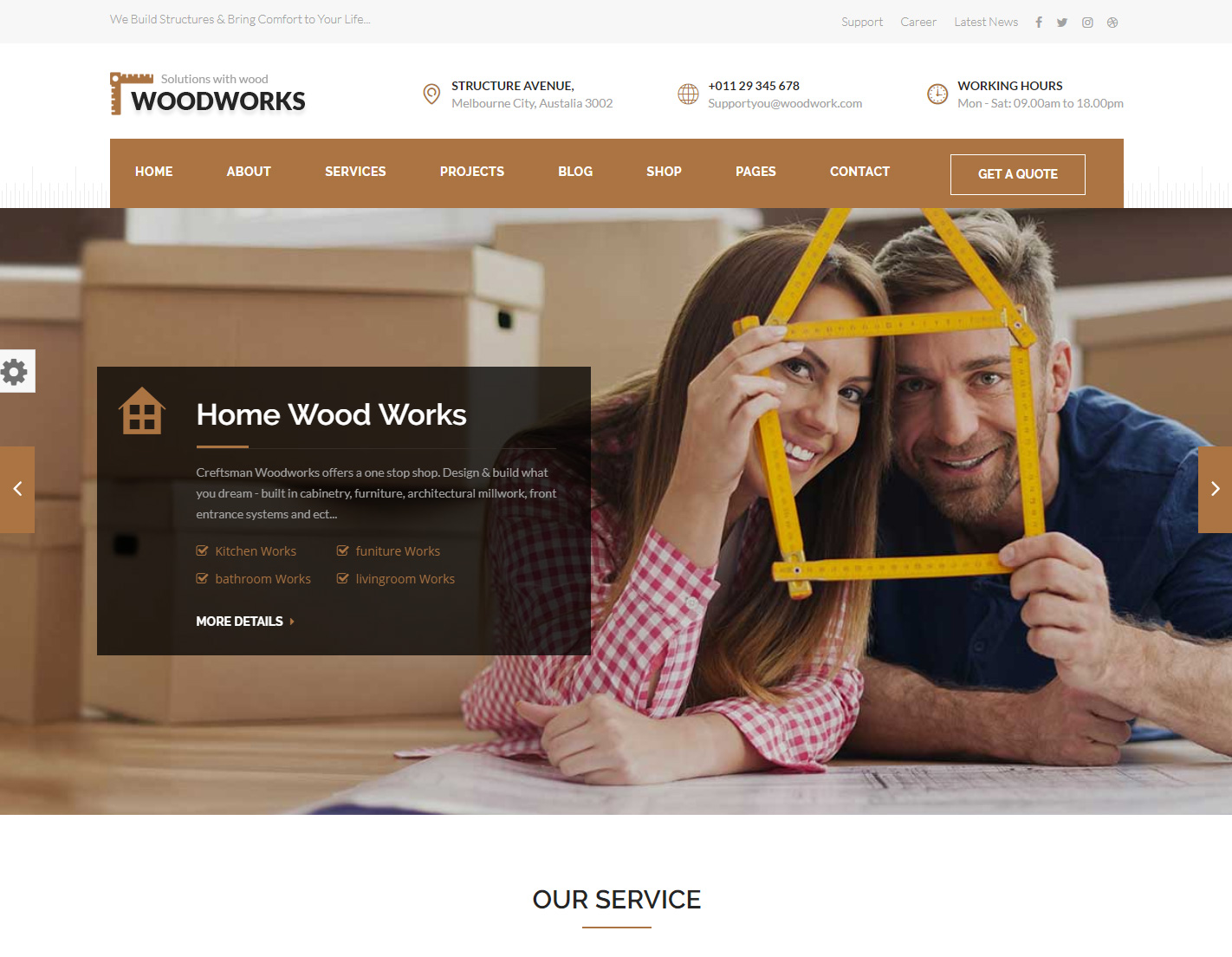 Wood Works WordPress theme for craftsmans