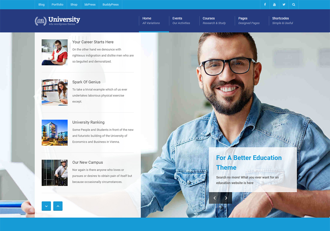 University online course WordPress theme