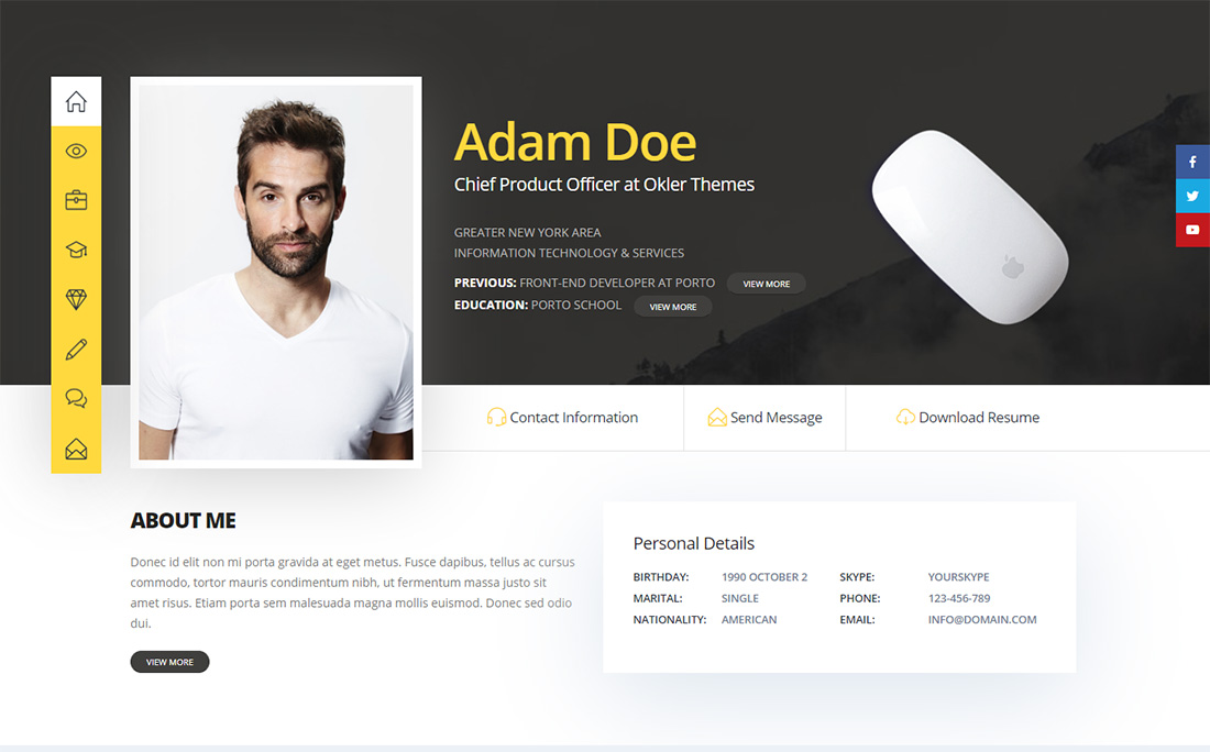 Porto Personal Branding WordPress Theme