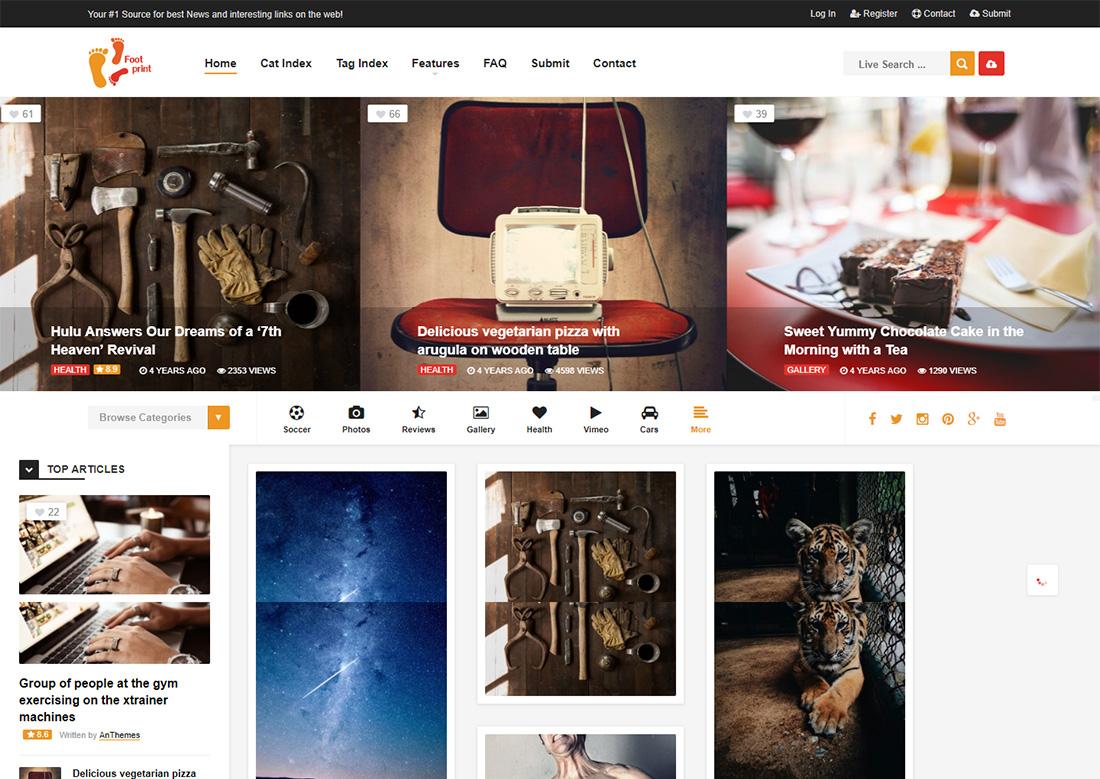 foot photo sharing WordPress theme