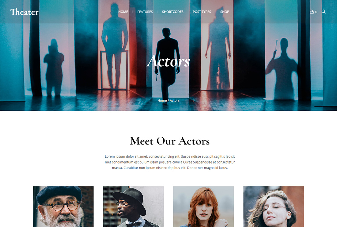 Theater WordPress themes for actors