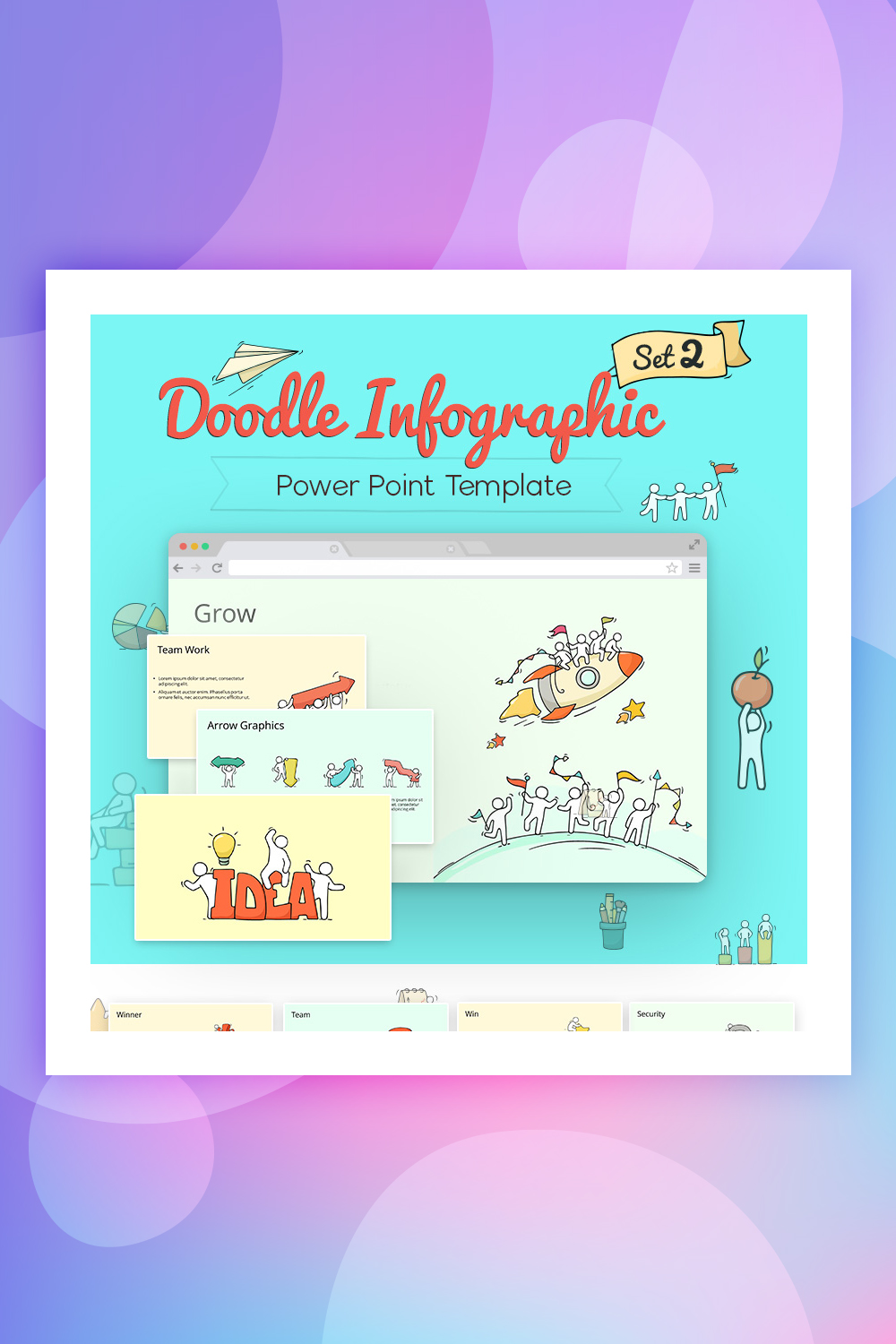Doodle Infographic Set PowerPoint Template