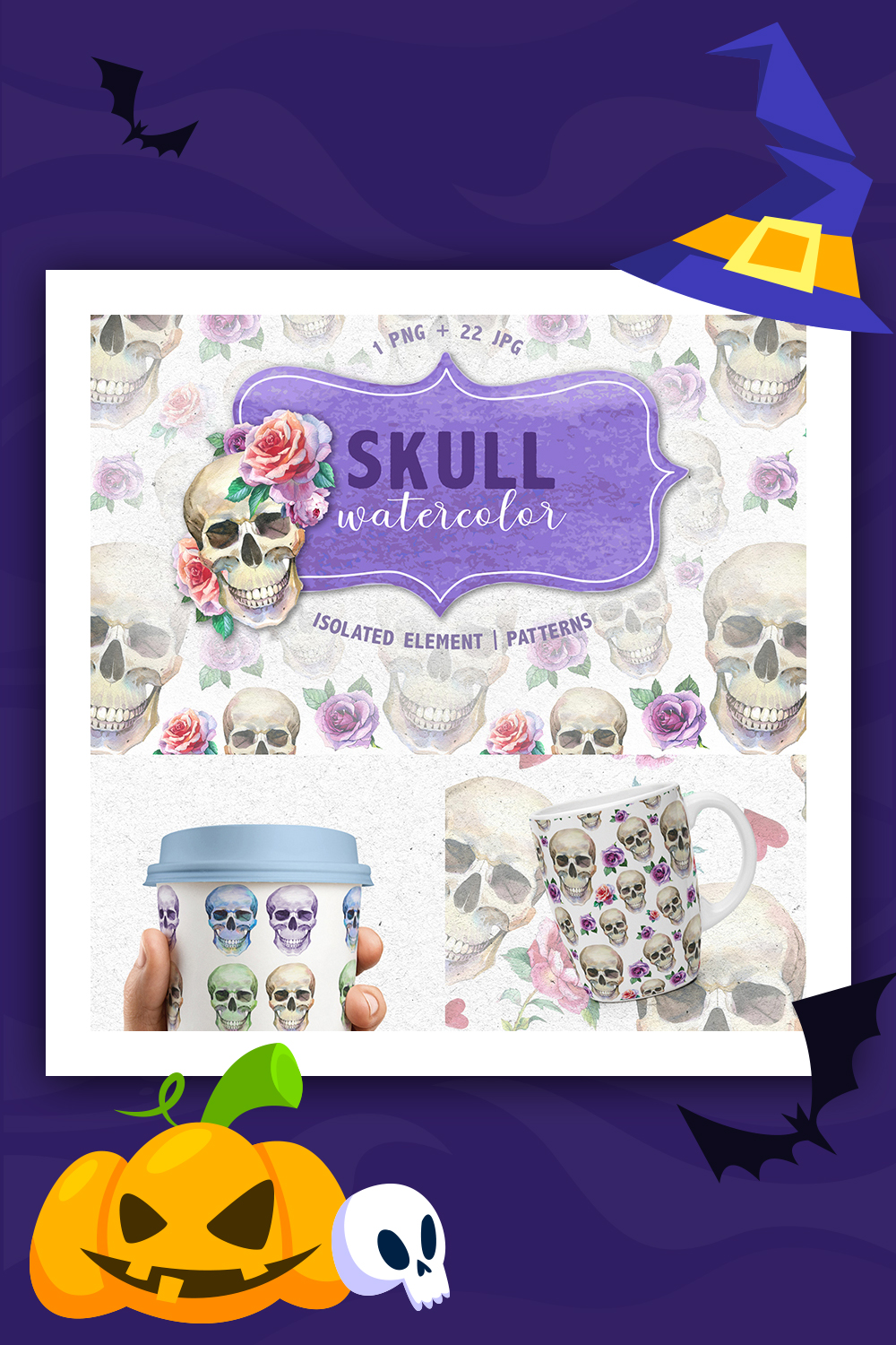 Cool Skull Print PNG Watercolor Creative Set Illustration