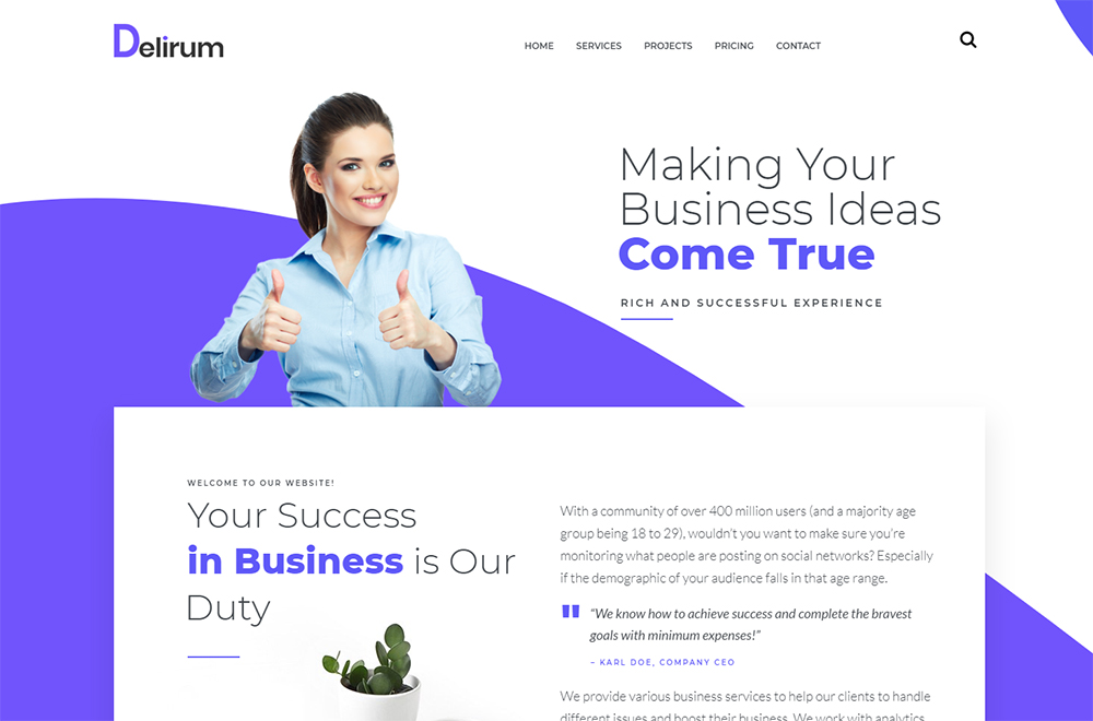 Delirum - Corporate Landing WordPress Theme