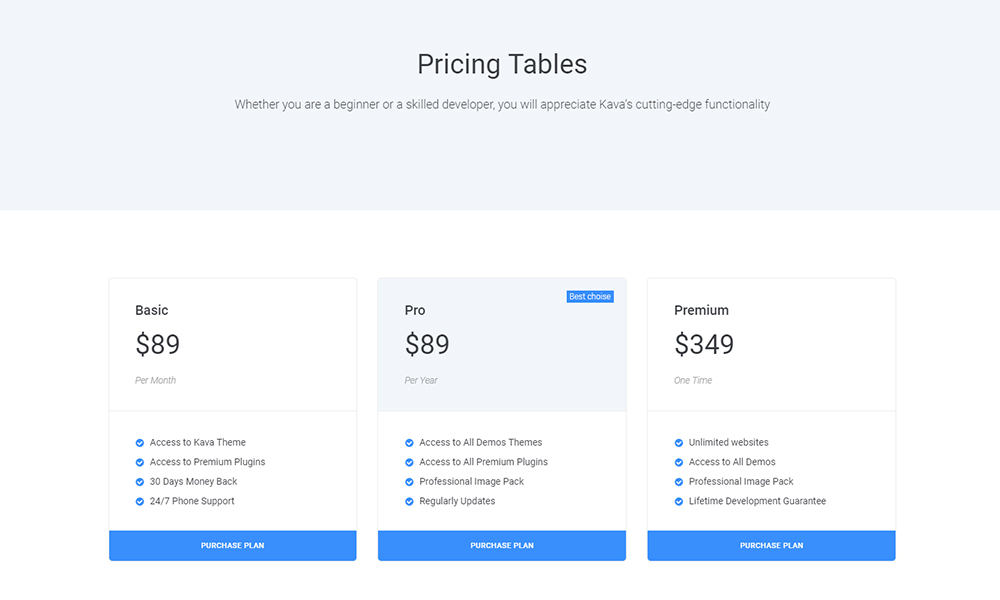 Picex - Pricing Tables Jet Sections Elementor Template
