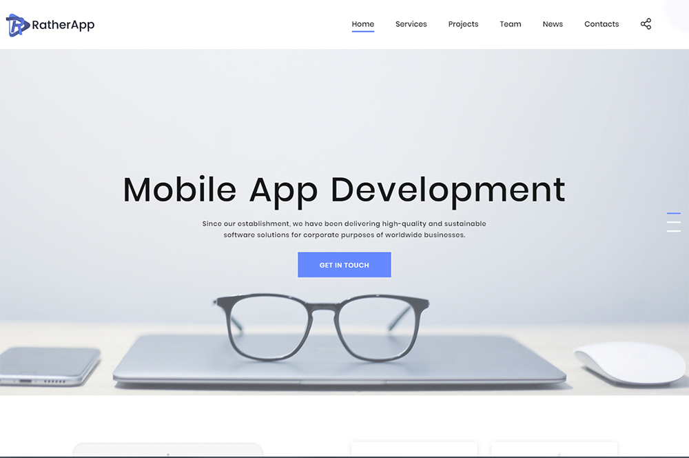 RatherApp Landing Page HTML Template