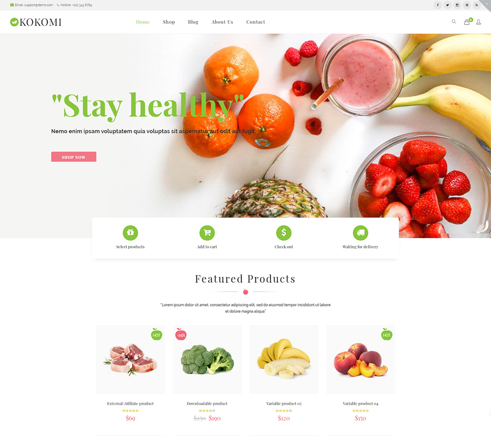 Kokomi - Organic & Food WordPress WooCommerce Theme