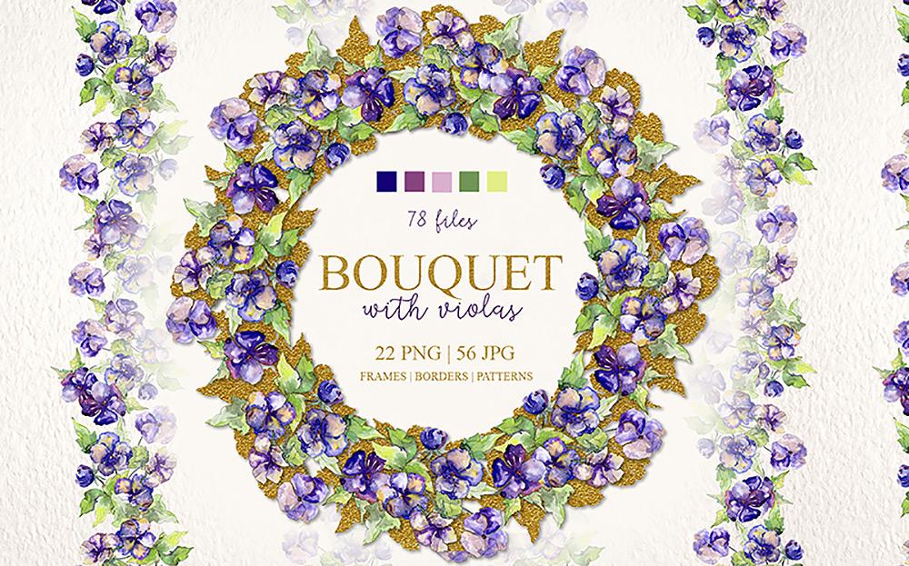 Bouquet With Violas PNG Watercolor Set Illustration