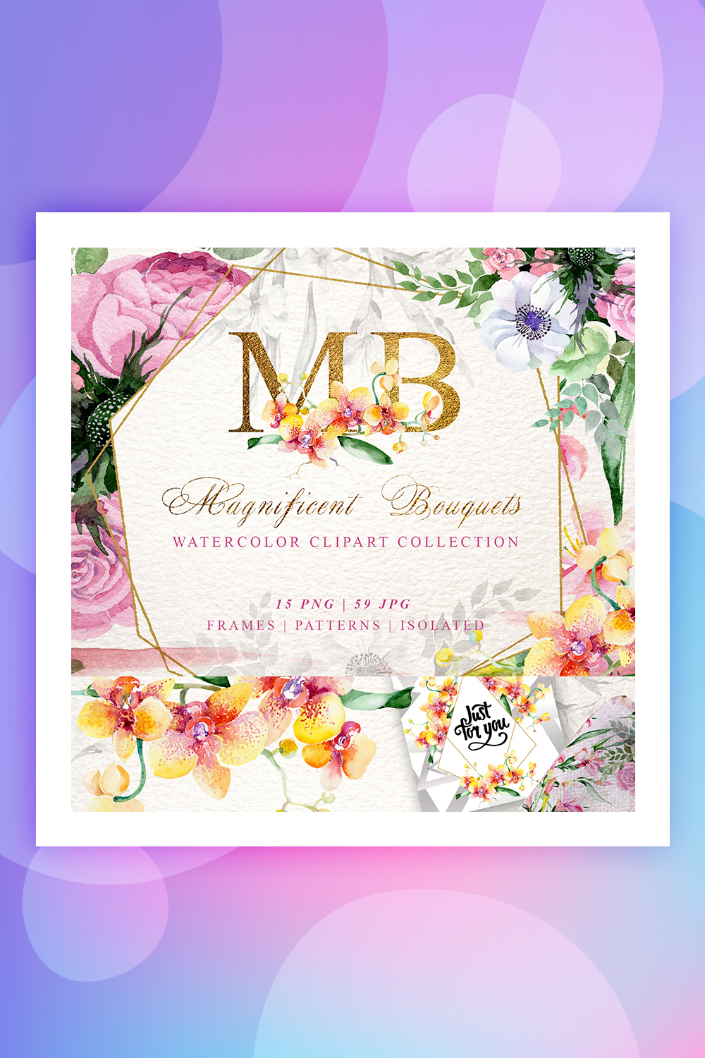 Magnificent Bouquets Watercolor PNG Illustration