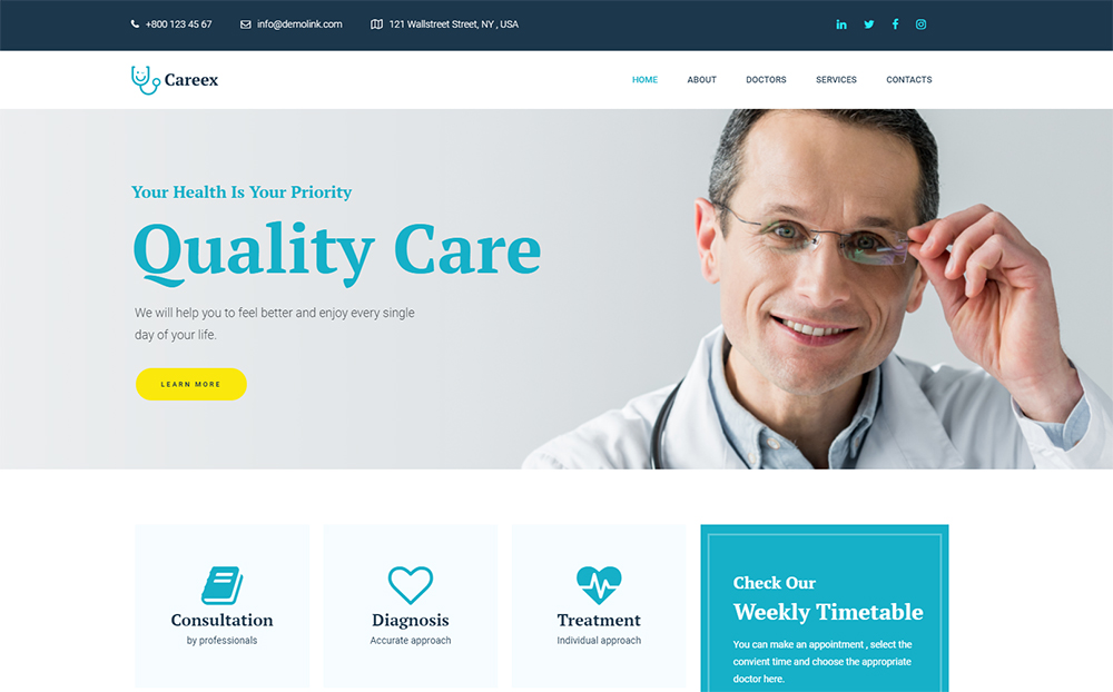 Careex - Family Doctor Elementor WordPress Theme