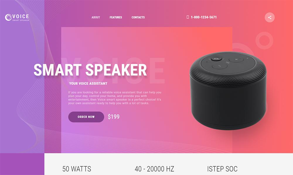 Voice Smart Speaker HTML template