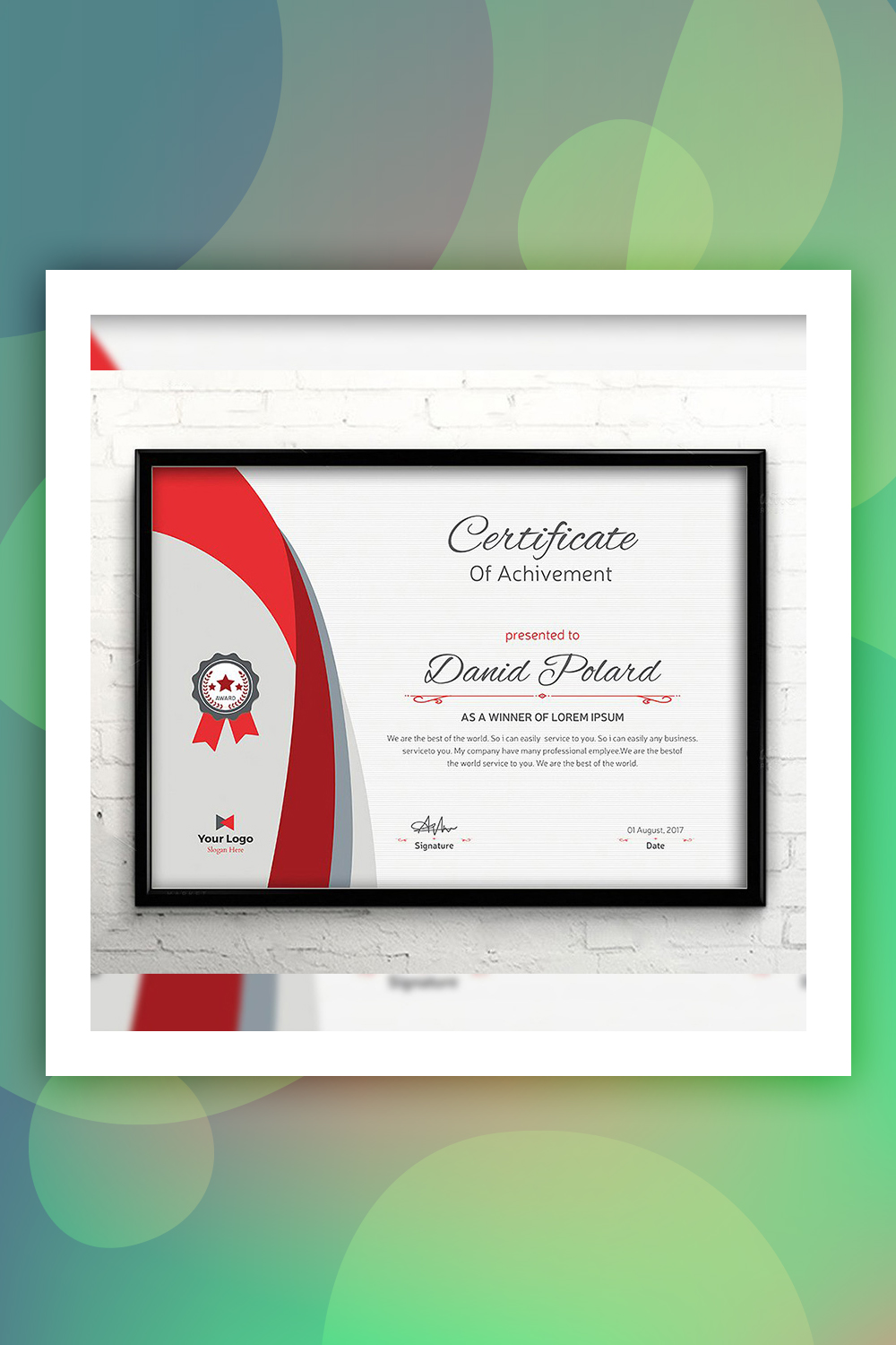 years of service award template.html