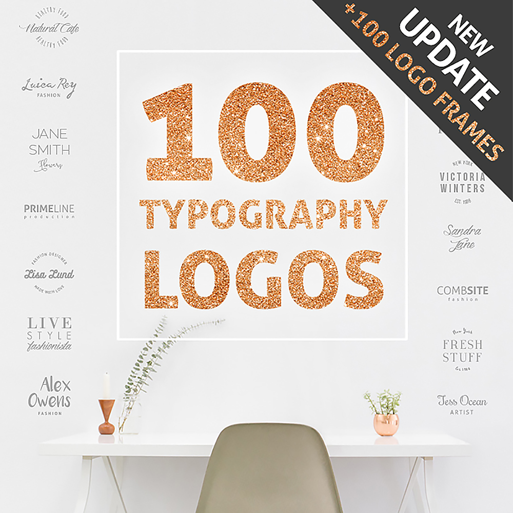 100 Typography Logos + 100 Frames Bundle
