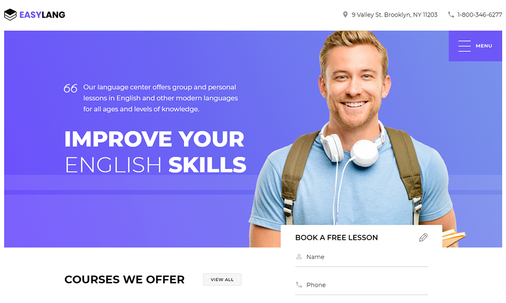 Language School One Page Classic HTML Template