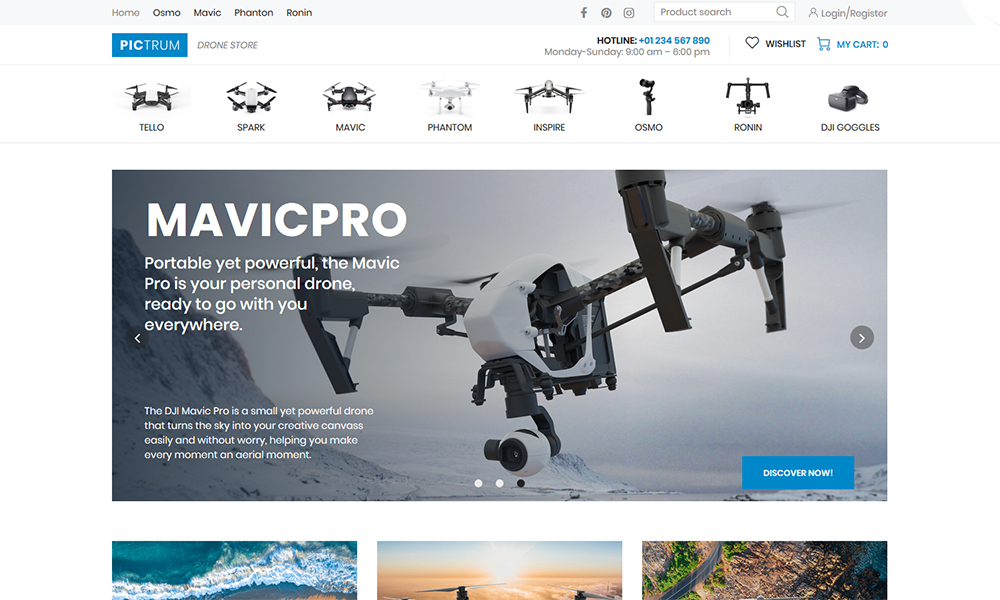 Pictrum - Drone Store ECommerce Minimal Elementor WooCommerce Theme target=