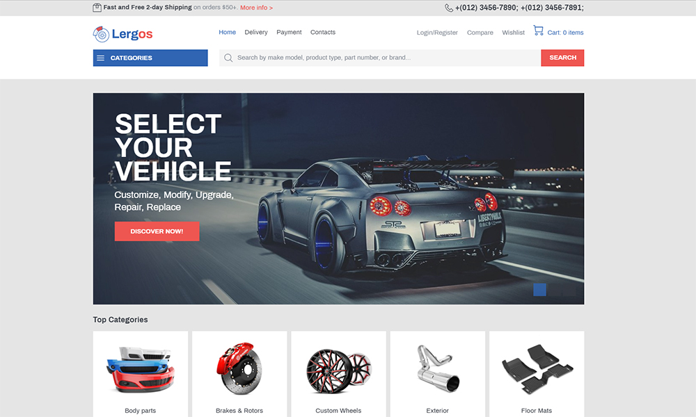 Lergos - Car Spare Parts ECommerce Classic Elementor WooCommerce Theme