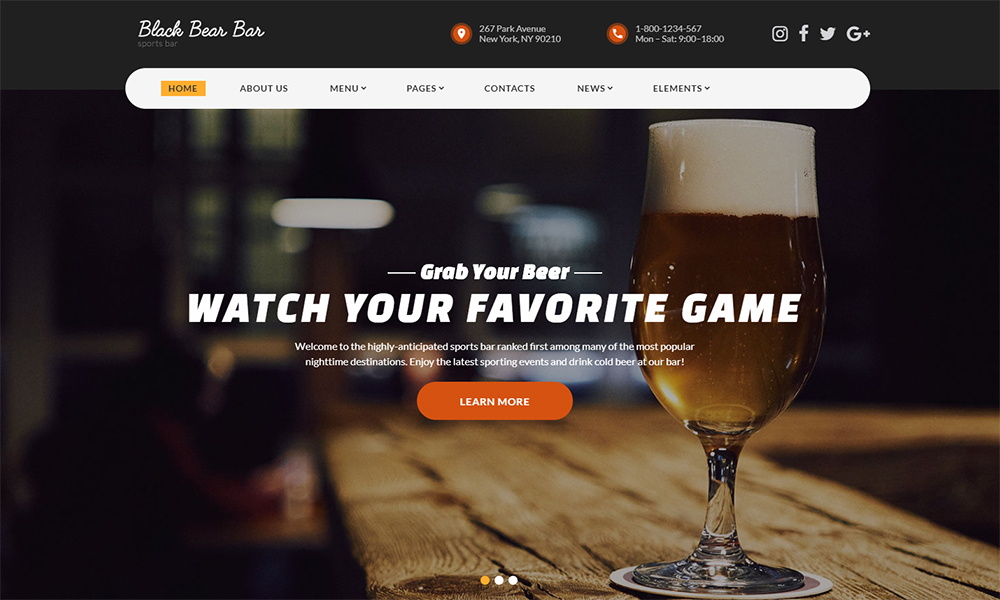 Bar Modern Ready-to-Use HTML5 Template