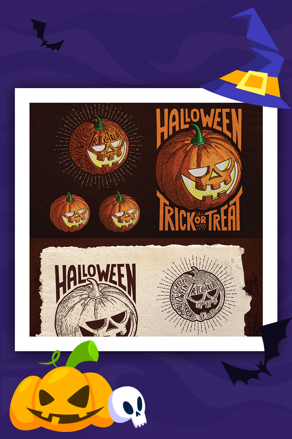 Halloween Pumpkin Engraving Style Illustration