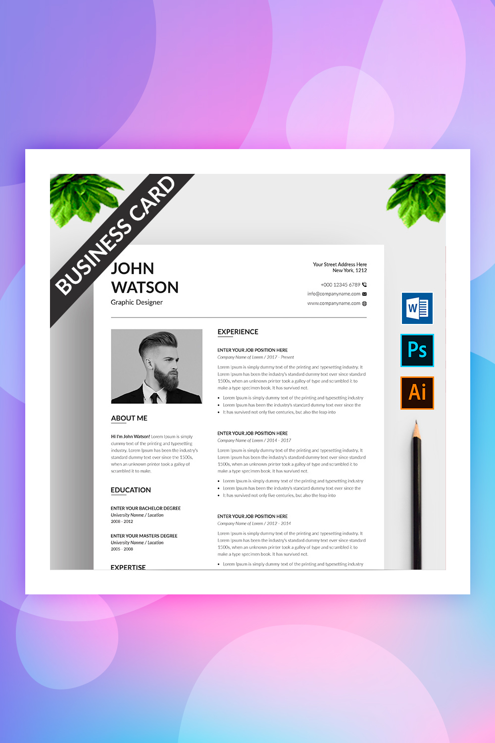 John Watson Resume Template with Business Card Resume Template