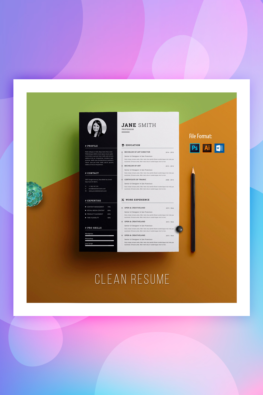 Clean & Creative Jane Smith Resume Template