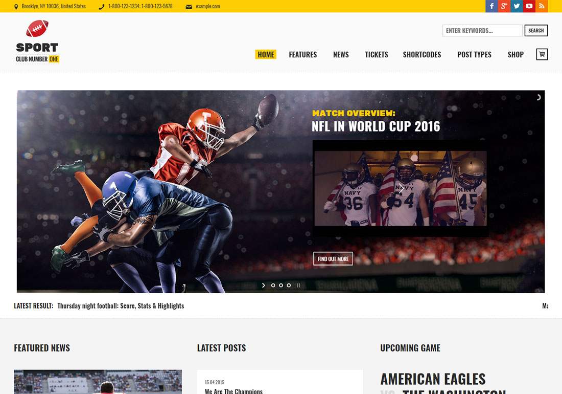 Sports Club baseball WordPress theme