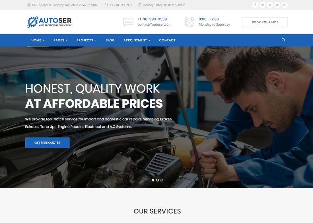 Car detailing and repair WordPress theme