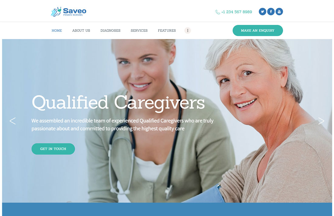 saveo elderly care wordpress themes