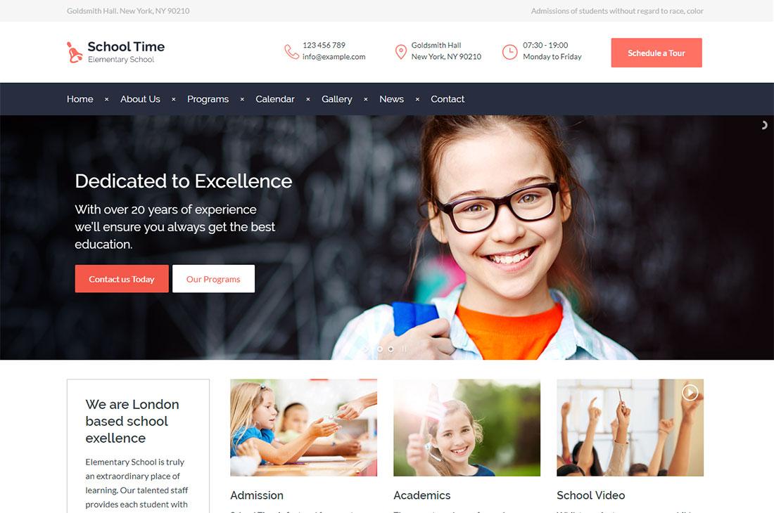 school time elementary school WordPress theme