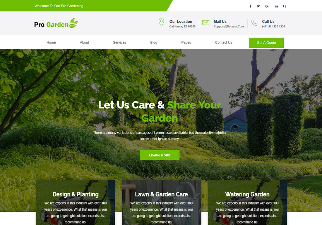 Pro Garden Landscaping Website Template