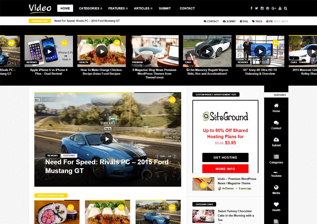 video news photo sharing WordPress theme