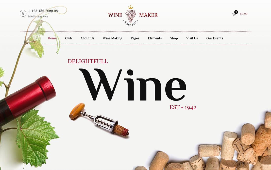 wine maker wine shop WordPress theme