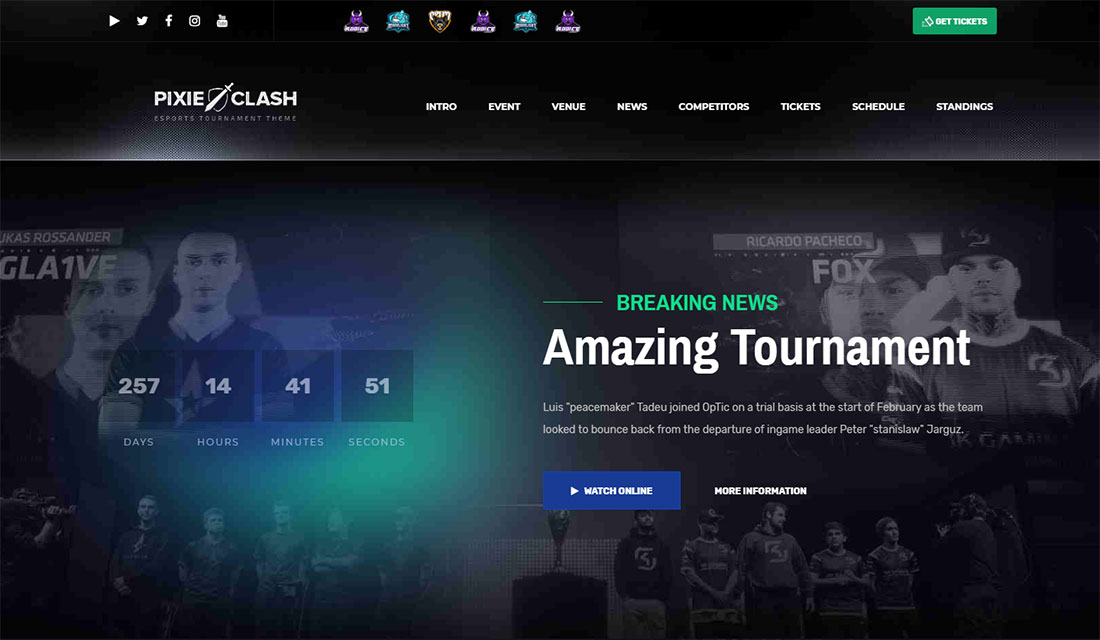 Pixieclash WordPress Live Streaming Theme