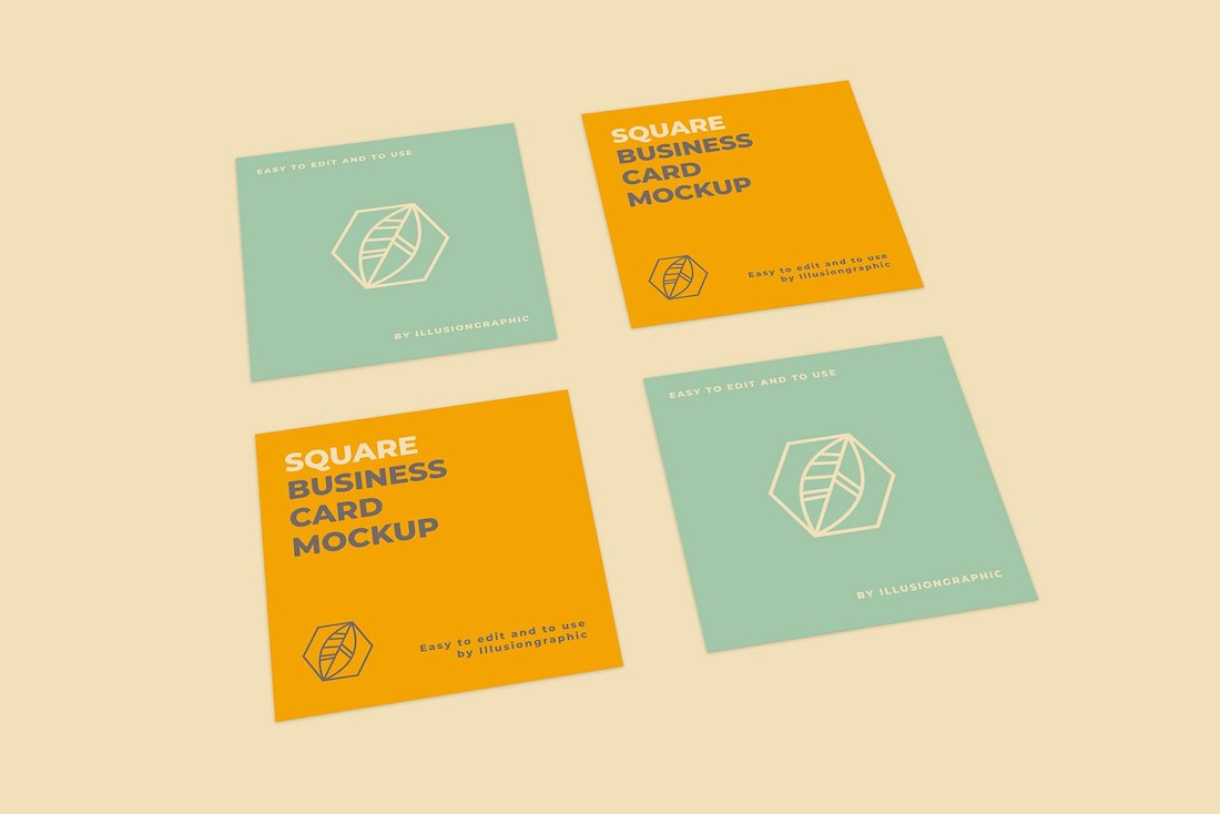 8 square business card mockups
