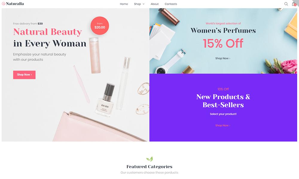 Naturalla - Cosmetics ECommerce Modern Elementor WooCommerce Theme