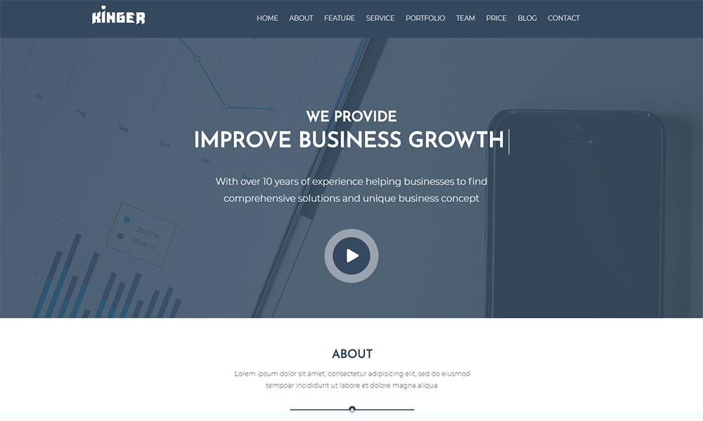 Kinger - Personal Business Portfolio Landing WordPress Theme