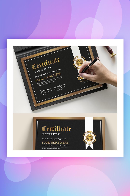 Black & Gold Certificate Template