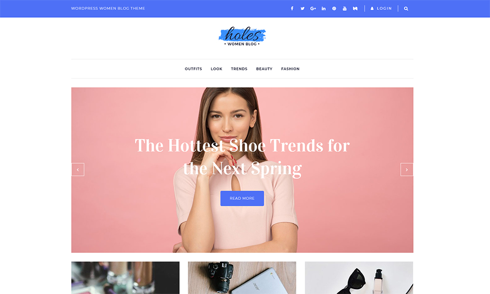 Holes - Women Blog Tema multipropósito Classic Elementor WordPress