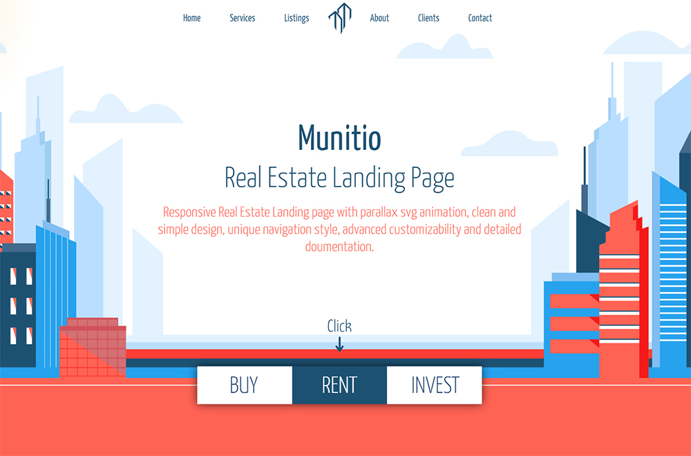 Munitio - Responsive Real Estate Landing Page Template