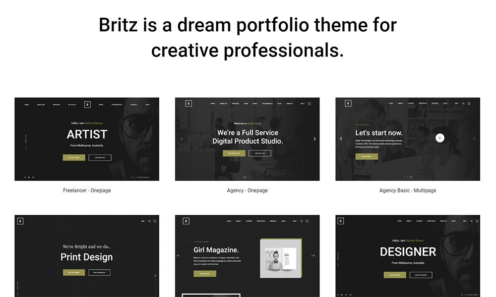 Britz - Minimal Onepage and Multipage Portfolio WordPress Theme