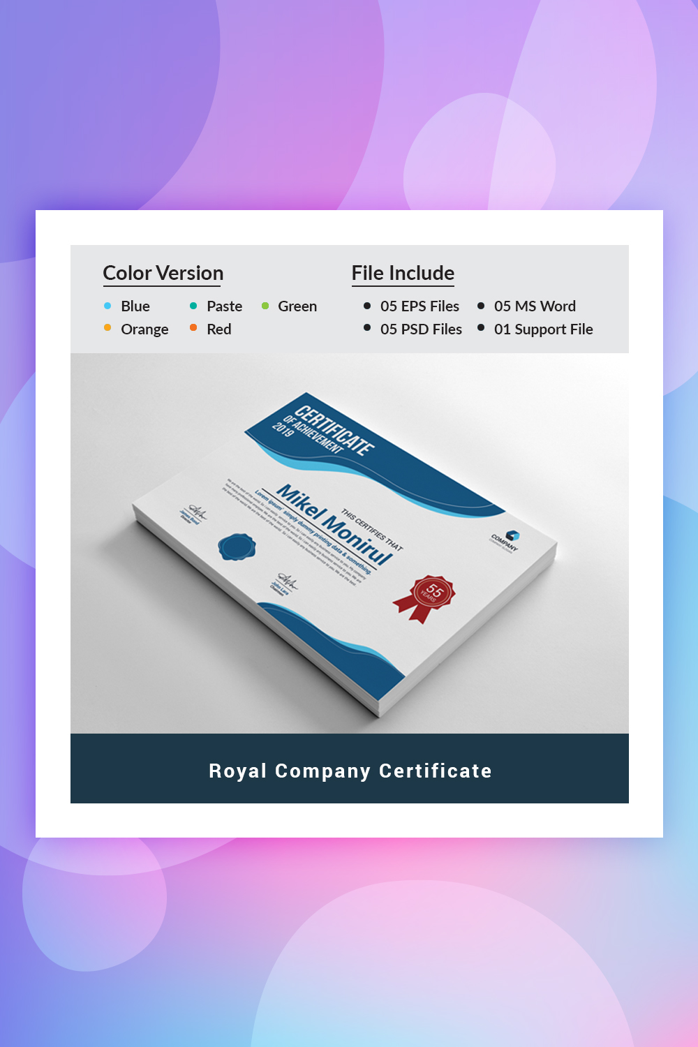 Royal Company Certificate Template